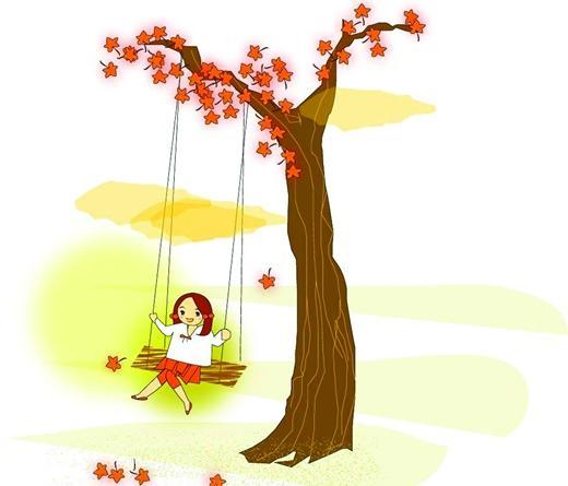 小女孩抱花卡通图片